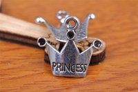 Wholesale Princess Crafts - 300pcs 19mm Love Princess Crown Pendant Beads Components Charms 7098 Plated Silver DIY Jewelry Craft Necklace infinity Fit Bracelets Earring