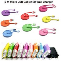 Wholesale Noodle Wall Charger - Wholesale-Colorful 2in1 Charger EU Wall Charger+2M Noodle V8 5pin micro usb cable For Samsung Galaxy S4 i9500 For HTC Motorola 20pcs lot