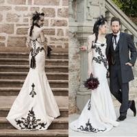 Wholesale Modest Sweetheart Neckline - Modest Wedding Dresses Black and White Mermaid Gothic Bridal Gowns Sweetheart Neckline Beading Lace Appliques Corset Brides Formal Wear