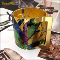 Wholesale gold plated costume jewellery for sale - Group buy Fashion Country Style Painting Design Opened Bangle Cuff Bracelet For Women High Quality Gold Plated Costume Jewellery BL035