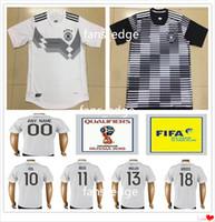 Wholesale Germany Black Jerseys - 2018 World Cup National Germany Football Jersey Muller Gotze Reus Kroos Draxler Neuer Ozil Hummels Boateng Lahm Black White Soccer Shirt