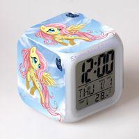 Wholesale Doll Clock - locks Alarm Clocks Pony Print Pattern Alarm clock Conan LED Clock figures toys & hobbies dolls nightlight supermario Colorful Glowing...