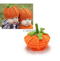Wholesale Halloween Pumkin - Cute Pumkin baby hats caps Infant Toddler winter Crochet hats Beanie Handmade Knitted Hat children boy girl Halloween Gifts