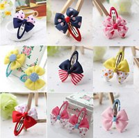 "Wholesale Mixed Design Hair Clip - Free Shipping wholesale 2.6""*2"" Hair Accessary Clip hot selling Children Bowknot hair Clips Exquisite whorl silk barrettes mix designs"