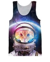 Wholesale Galaxy Tank Tops For Men - Sport Tanks Summer style Space Cat kitty Tank Top spaceman galaxy Basketball Vest Sport Jersey tops for women men free shipping