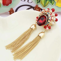 Wholesale Sweater Brooches Korean - Original Jewelry Korean Version Of The Retro Chinese Style Crystal Sweater Chain Peking Opera Mask Huaxiong Brooch Necklace