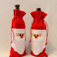 Wholesale Wine Bottle Promotion - Big Promotion!! 2017 Christmas Santa Wine Bottle Bag Red Wine Bottle Cover Bags Merry Xmas Dinner Party Decor Table Christmas Decorations
