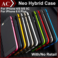 Wholesale Cover Bumper Iphone 5c - TPU & PC Hybrid Case For iPhone 4 5 5S 5C 6 6S Plus Bumblebee Armor TPU & PC Bumper Cover Shockproof Phone Back Skin 2 in 1 With Retail DHL
