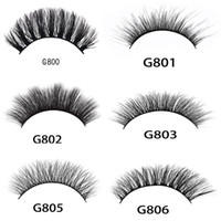 Wholesale Tools For Thick Hair - 5pairs set 3D Mink False EyeLashes Thick Plastic Black Cotton Full Strip Fake Eye Lashes For Party Cosmetic Make Up Tool With Box G800