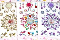 Wholesale Rhinestone Bathroom - Multicolor Flower Motif Acrylic Self-Adhesive Rhinestones Stickers Phone PC Car Art Decals Bags Beauty Decor DIY Accessories