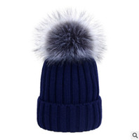Wholesale Crochet Knited Hat - Winter children thicken warmer hat kint beanie baby girls boys kids faux fox fur pompon knitting cap mother dauther stripe knited cap R0841