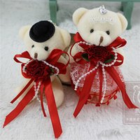 Wholesale Wholesale Life Size Dolls - Teddy Bear Stuffed Beige Doll with Red Silk Tie-Bow and Red Flower Girl's Gift Baby Toy Life Small Size Teddy Bear New Arrival