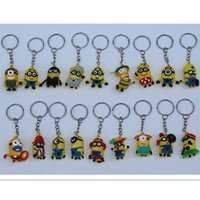Wholesale Doll Minion 3d - 3D 2015 cartoon Despicable Me 2 keychain car pendant small yellow people Minion key chain doll gift Mix style