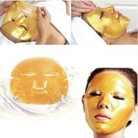 ingrosso collagene idratante sbiancante maschera facciale-Maschera facciale di cristallo del collageno dorato premio anti invecchiamento sbiancante idratante cura della pelle del viso liscia pelle più liscia MZ015
