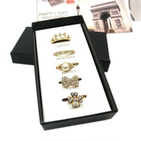 Wholesale Three Stone Pearl Ring - 2015 Women Gold Tone Set Rings with Gift Box clover crown pearl bowknot rings weeding jewelry sets