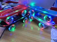 Wholesale Mini Loud - 2015 Last Skateboard Bluetooth Wireless Scooter Loud Speaker Mobile Audio Mini Portable Colorful Led Light FM TF Card for iPhone 6 S6 Phone