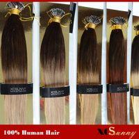 "Wholesale Nano Ring 1g Hair Extensions - XCSUNNY Nano Loop Virgin Hair Ombre Two Tone Dip Dye 18"" 20"" 1g s 100g +100beads 100% Malaysian Virgin Hair Nano Ring Extension"