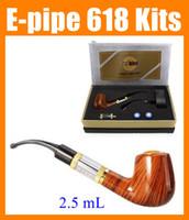 Wholesale Ego Single Set - E-pipe e Pipe 618 wooden electronic e cigarette cig Set Series smoking pipe style electronic smoking pipe Clearomizer ego starter kit TZ304