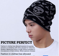 Wholesale Korean Winter Fashion For Male - Korean Enthicken Skull Knitted Wool Hat Winter Autumn Spring Hip-hop Cool Cap Hats For Male Female 100% polyester warm wool hats 7 Colors