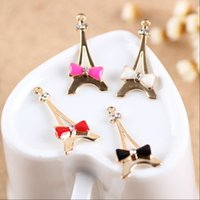 Wholesale Phone Decorating Charms - ashion Jewelry Charms New 20PCS Gold Tone Oil Drop Enamel Bow Decorated Alloy Effiel Tower Charms for DIY Necklace Bracelet Phone Chain K...