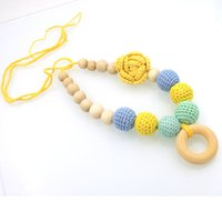 Wholesale Crochet Flower Necklace - New comingYellow crochet flower nursing necklace mint Blue color Wood Jewelry for Mom baby NW1980