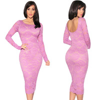Wholesale Low Back Club Dress - Autumn New Women Peony Crochet Dress Floral Lace Sexy Club Bodycon Basic Dress Low Open Back Long Sleeve Pencil Dress Pink