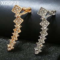 XGSPZY Personalidad Square Rhinestones Ear Cuff Punky Estilo Left Right Colorful Crystal Jewelry Friend Regalo de Cumpleaños Clip Pendiente