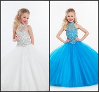 Wholesale Toddlers Discount Dresses - White Blue Organza Flower Girl Dress For Wedding Beads Crystal Ball Gown Floor Length Girls Pageant Dresses For Party Birthday Gift Discount