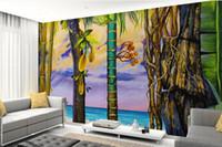 ingrosso bamboo tree painting-Il bambù di bambù della spiaggia del paesaggio della spiaggia del paesaggio della spiaggia del fondo 3d si preoccupa del bagno
