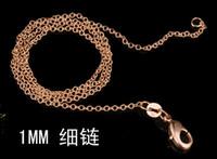 cadena de latón de 1 mm al por mayor-2015 ventas calientes 18K chapado en oro moda 1MM 18inch