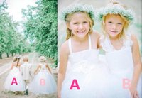 Wholesale Gold Gifts Christmas Pictures - Flower Girls Dresses For Weddings Ball Gown Lace White Tulle Criss Cross Straps 2 Styles Party Dress Beautiful High Quality Birthday Gift