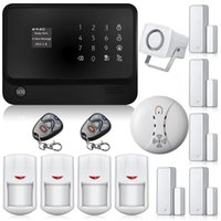 Wholesale Alarms System Home - New G90B WIFI GSM GPRS Wireless Home House alarm system IOS Android APP Control With Smoke Detector