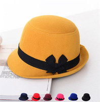 Wholesale British Top Hat Black - British Style Bowknot Fedora Hats Womens Girls Wool Felt Bowler Caps Sweet Imitate Cashmere Brim Bucket Top Hat Good Quality K1131