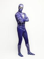 Wholesale Spiderman Zentai Blue Black - Wholesale-Lycra Spandex Purple Blue Spiderman costumes zentai Suits Costume Halloween
