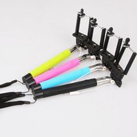 Wholesale Cable Remote Shutter Camera - Z07-5S Extendable Selfie Stick Monopod Tripod Camera Remote Shutter Handheld Wired Cable Take Pole for iPhone 6 IOS Android Phone 200pc