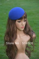 Chapeaux Artisanaux En Gros Pas Cher-Gros-A048 Blue Circle Feutre Pillbox Hat Millinery fascinateur base Artisanat Making