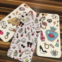 2016 Luxo Ladies Lipstick Graffiti Cosmetic PC Phone Case para iPhone6 ​​6s 4.7