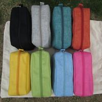Wholesale Zipper Jute Bag - Wholsesale Blanks New Stylish Jute Colorful Womens Cosmetic Cases Makeup Bag Free Shipping Via FedEx DOM106154