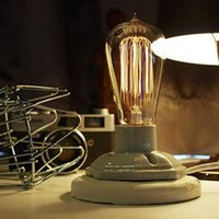 Wholesale Lamps Edison Bulb Table - Vintage style Industrial Edison Lamp Base old fashion with T64 light bulb - table lamp