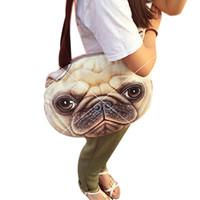 saco de impressão de animal impresso em 3d venda por atacado-Atacado-Original retro dos desenhos animados animais sacos de cabeça de cão sacola personalizada moda feminina bolsa 3D impresso gato cabeça bolsa de ombro