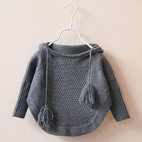 Wholesale Childrens Cardigan Sweaters Wholesale - 2015 Kids Girls Knit Hooded Sweaters Baby Girl Fall Batwing Pullover Girl Fashion Jumper Tops Childrens Wholesale clothing