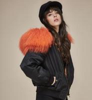 Wholesale Womens Coats Sheep Fur - womens bomber jacket with mongolia sheep fur collar fashion short Flight suit cotton lining coats USA UK