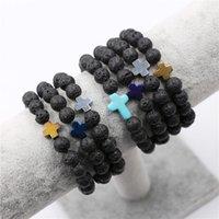 Wholesale Turquoise Bracelet Stretchy - New Design 8mm Black Lave Stone Beads Bracelet Stretchy Jewelry Design Cross Charm Best Gift Bracelets
