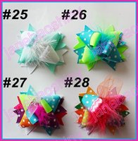 Wholesale Over Top Hair Bows - free shipping 100pcs 3'' Mini Funky Fun Over the Top Bows fashion girl hair bows feather clips