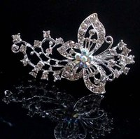 Wholesale Bridal Butterfly Brooch - 2PX Wedding Bridal Big Butterfly Silver Plated Crystals Pearl Brooches Brooch