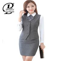 Wholesale women ladies office jacket - Wholesale-Women Suit Vest 2016 New Fashion Women Solid Suit Waistcoat Female Business Formal Vest Jackets Office Lady Work Suit Vest 3XL