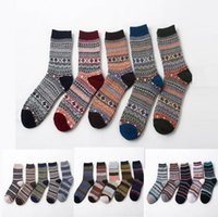 Wholesale girls thick warm socks - Men Wool Socks Winter Thermal Warm Socks Colorful Thick Socks Retro National Rabbit Wool Casual Sock OOA3446
