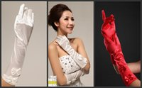 Wholesale Satin Bow Stocking - Free Shipping 2015 New Style Real Image In Stock White Ivory Satin Bridal Glover For Wedding Dresses Party Gowns Bridal Accessories With Bow