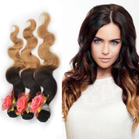 Indian Remy Ombre Body Wave Hair Weave Extensions, 10-30 '' Two Tone Color Body Wave Virgin Hair Bundles, Dip-dye Ombre 1B-27 Human Hair Wefts