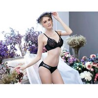 Wholesale Wedding Underwear Bow - Women Sexy Perspective Lace Embroidery Bow Adjustable Push Up 1 2 Cup Bra Set Underwear Set Briefs Set for Wedding Gown Elegance